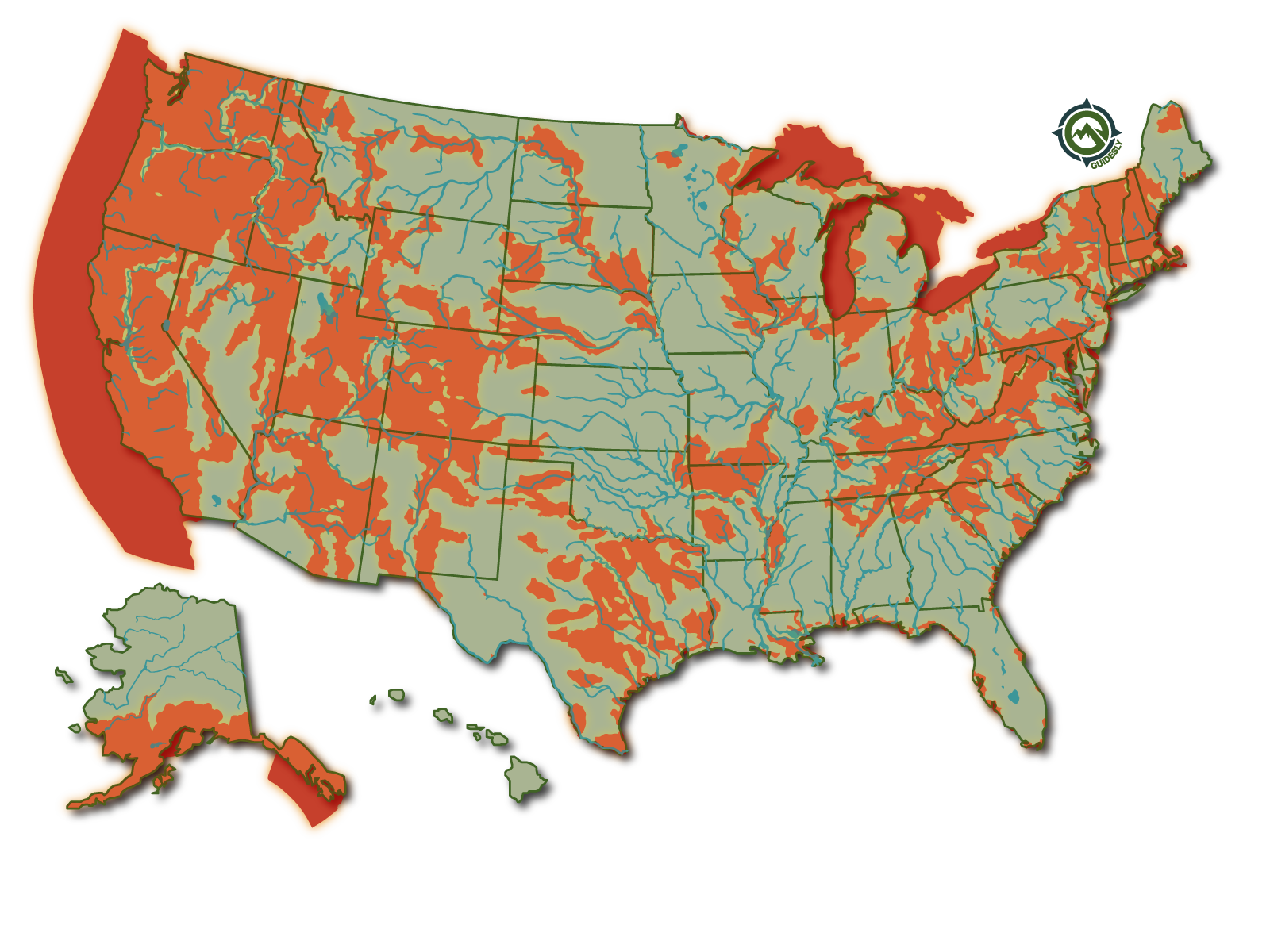 Rainbow Trout United States Fishing Heatmap