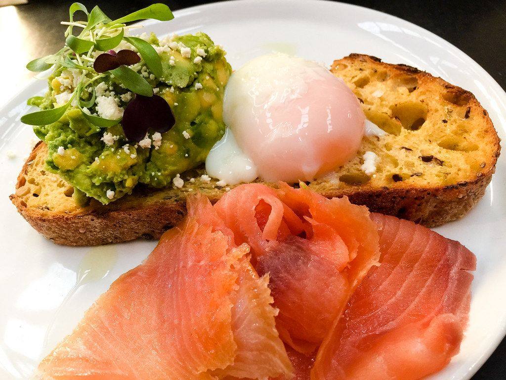 Salmon with poached egg and avocado on toast