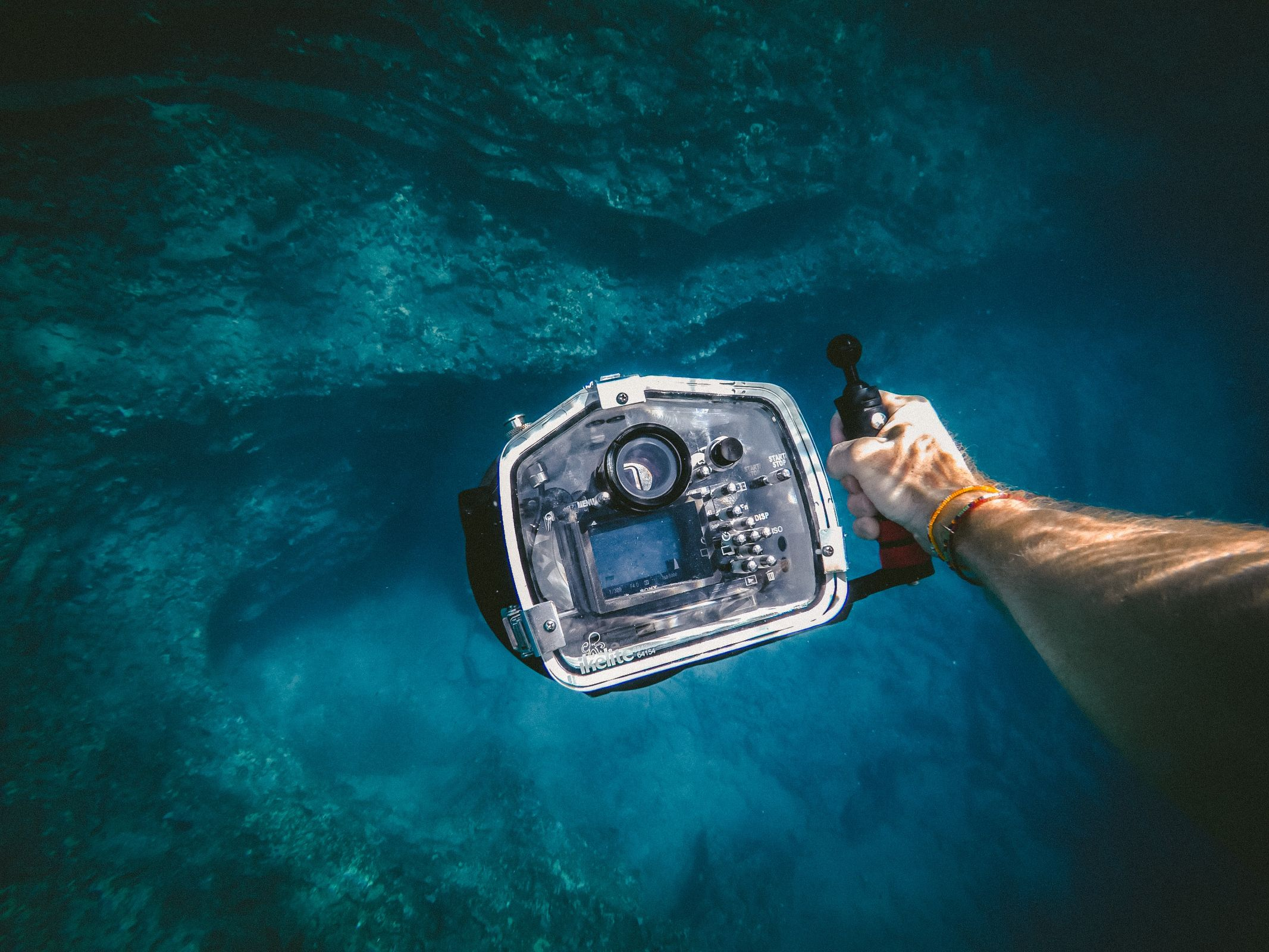 A person holding a camera underwater